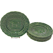 Green Bordallo Pinheiro Majolica Plates, Cow & Sheep Designs, Made in Portugal