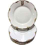Gold & White German Plates with P Monogram, Set of 6