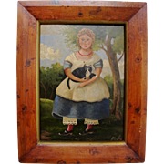 Naive painting of girl with cat