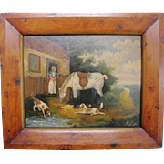 Naive oil painting of countryside/ farm scene