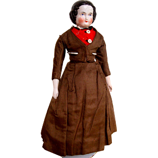 Early china head doll - 14 inches
