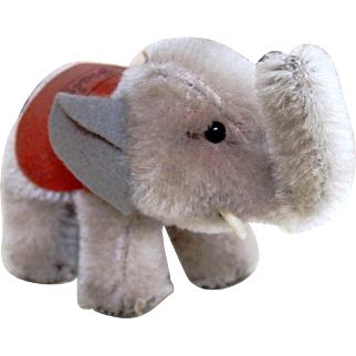 "Steiff 3"" Elephant with Button Vintage 1950's"