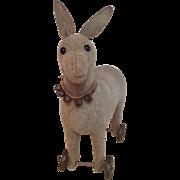 Steiff Donkey on wheels pre button
