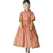 Small German peg wooden doll 6.75 inches