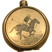 Vintage English Pewter Equestrian Polo Flask