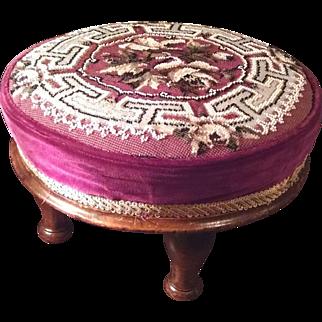Victorian Beadwork Footstool