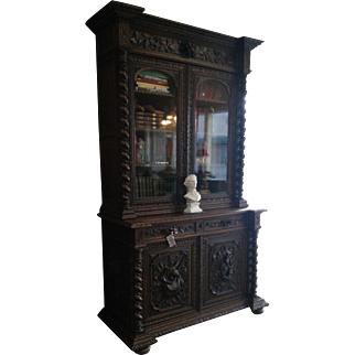 Carved Black Forest Bookcase