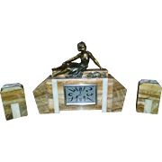 French Art Deco Clock Garniture Set