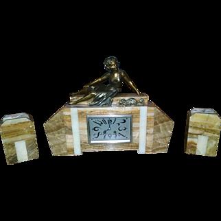 French Art Deco Clock Garniture Set