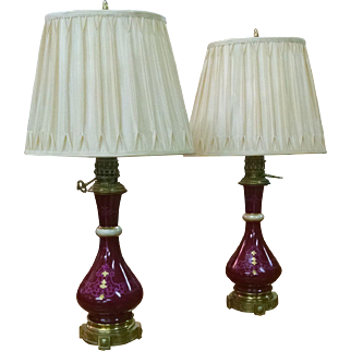 Pair French Carcel Moderator Lamps Electric Napoleon III