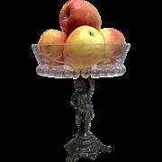 Crystal Fruit-Pastry-Candy Bowl On A E G ZIMMERMAN Cast Bronze Base