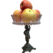 Crystal Fruit-Pastry-Candy Bowl On A E G ZIMMERMAN Cast Bronze Base