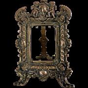 Antique 19c. Figural Ornate Bronze Easel Back Frame