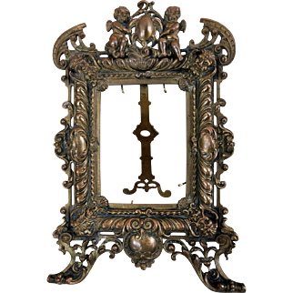 Antique 19c. Figural Ornate Bronze Easel Back Frame