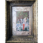 The Hunting Camp Miniature by Mirza Ali Framed Cover Of An Antique Persian Epic Poetry Book
