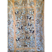 19c Hand-embroidered Wall Hanging Golab-Duzi The Royal Hunting