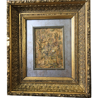 Antique Framed Persian Oil Miniature Painting On Leather, 18 c.
