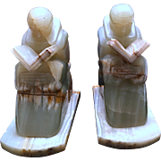 Pair Of Sculptured Green Onyx Monks Bookends