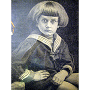 Pastel by Bauer A. Charcoal- bond paper-A Young Child in A Sailor's Suit