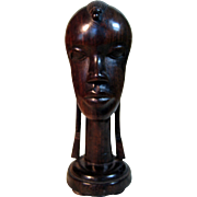 Ebony Carving- Bust Of An African Beauty - Red Tag Sale Item