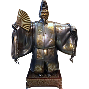 Japanese Bronze and Silver Statue of Noh Dancer