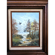 Fine Painting of a Landscape With Phaesants Signed by Artist