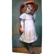 E.Payer Pastel Of A Young Girl With An Orange 19c.