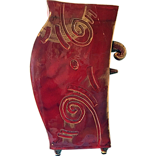 Red Glazed Signed Pottery Vase From Italy
