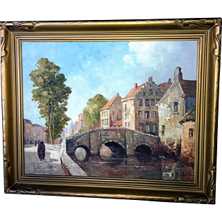 Oil Rural Landscape Painting by a Listed Artist A. Bodson