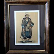 Watercolor Miniature Nut Seller 19 c.
