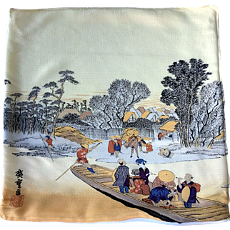 Signed Old Japanese Woodblock Print on Silk that Tells a Story
