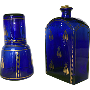 Set of Clear Cobalt Blue Glass Decanters with Gilded Napoleon's Bee Pattern - Red Tag Sale Item