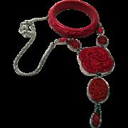 Stirling Silver-Cinnabar-Designer Jewelry Set: Necklace and Bracelet