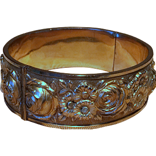 Victorian Double-gilded Hinged Silver Repousse Hallmarked Bangle Bracelet 19c.