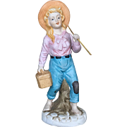 Signed Hand-painted Bisque Porcelain Figurine Girl With a Fishing Rod