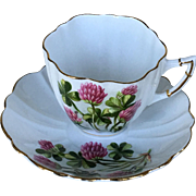 Vintage Royal Victoria Clover Pattern Fine Bone China Tea Cup and a Saucer England