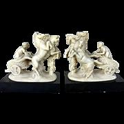 Rare Pair Bookends of Unique Vintage G. Ruggeri Quadriga Led by Roman Statues c. 1960