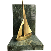 Brass Sailboat on Green Marble Base Bookend