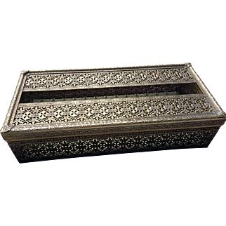 French Vintage Style Gold Color Brass Tin Filigree Tissue Box Holder Home Décor