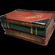Borghese Vintage 3-Book Vanity  Trinket Box in Gold-Red-Green Tones
