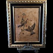 Vintage Color Woodblock Print on Wax Paper Birds & Berries