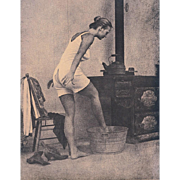 """Vintage Print from 60-70's """"A Washing Up Woman from 18-19 Century."""""""