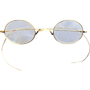 Gold Wire Rim Reading Glasses from 1920's in a Vintage Oliver People Case