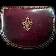 Vintage Italian Leather Jewelry Box Fleur de Lis