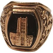 1958 Gold High School Class Ring with Black Onyx