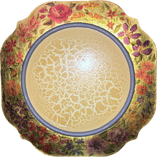 Mackenzie-Childs Vintage Floral Gold Border Rounded Square Wooden Charger