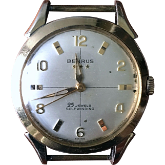 Benrus WWII 25 Jewel self-winding triple star watch c. 1940's