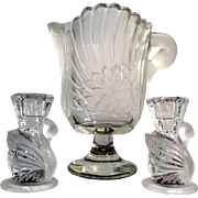 Vintage Mikasa Walther Crystal Swan Vase and a Pair of Candleholders