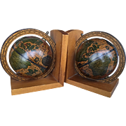 Pair of Spinning Globe Bookends with Wood Base 1960s