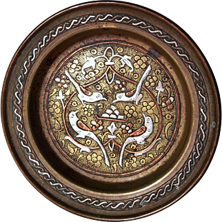 Qajar Period Gilded Decorative Copper Plate with Silver Encrustations